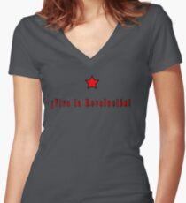 Che Guevara; Viva la revolucion Women's Fitted V-Neck T-Shirt