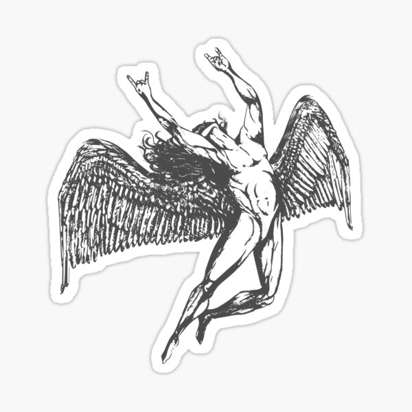 ICARUS THROWS THE HORNS - grey *awesome UNLISTED designs in my portfolio* Sticker