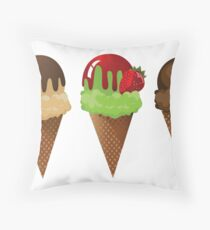 Set of ice cream cones. Throw Pillow