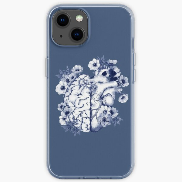Right balance between head and brain or heart, blue flowers anemoneus, watercolor style iPhone Soft Case