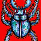 Carabidae: Pincers Poised, Eyes Gleaming (RED VERSION) by LeftHandedLenya