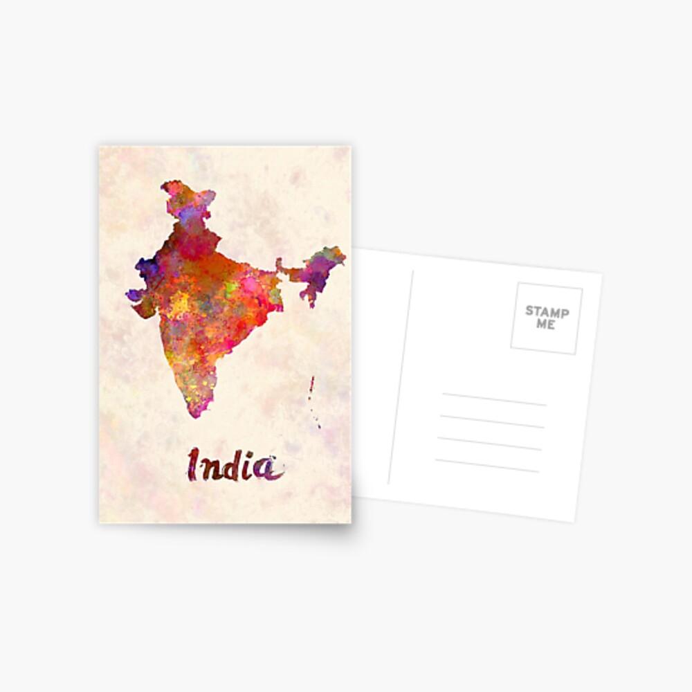 India  in watercolor Postcard