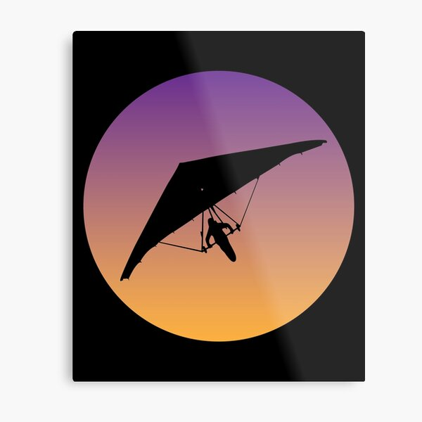 Hang Glider - Hang Glider Silhouette Graphic and Sticker Pack Metal Print