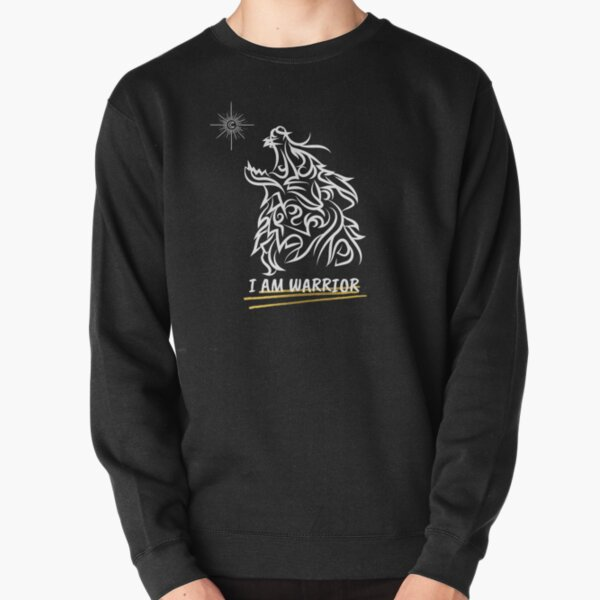 I am Warrior Black and White Lion's Head Pullover Sweatshirt