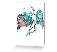 ICARUS THROWS THE HORNS - monet waters Greeting Card
