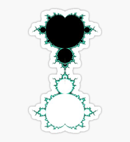 Exquisite Blue Green Mandelbrot - Black Sticker