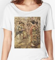 Edward Atkinson Hornel - Five Japanese Girls Among Blossoming Trees. Atkinson Hornel - woman portrait. Women's Relaxed Fit T-Shirt