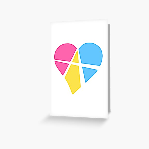 Pansexual Relationship Anarchy Heart (white) Greeting Card