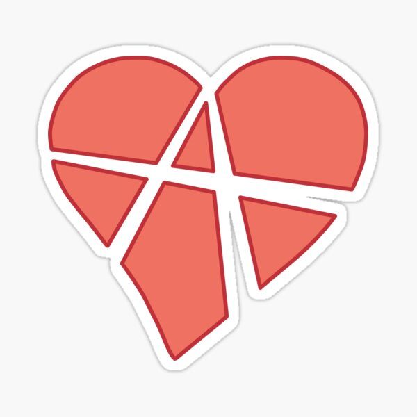 Relationship Anarchy Heart (black) Sticker