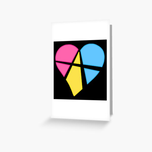 Pansexual Relationship Anarchy Heart (black) Greeting Card