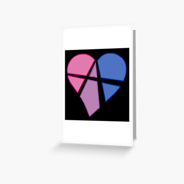 Bisexual Relationship Anarchy Heart (black) Greeting Card
