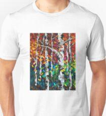 Colourful Autumn Fall Aspen Birch Tree Painting Unisex T-Shirt