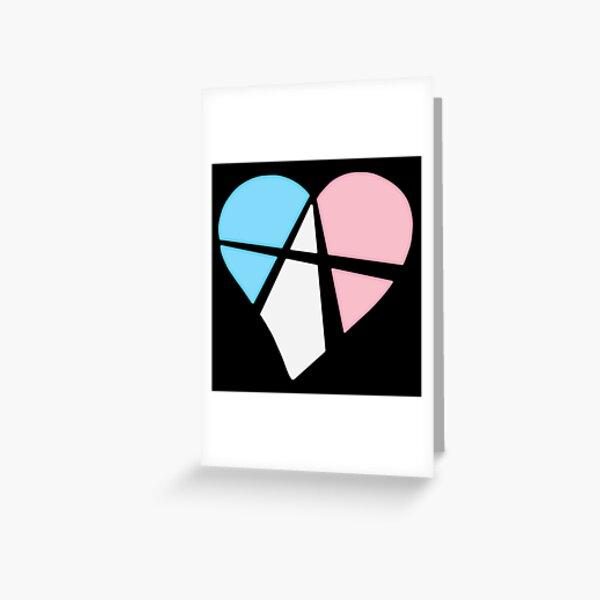 Transgender Relationship Anarchy Heart (black) Greeting Card