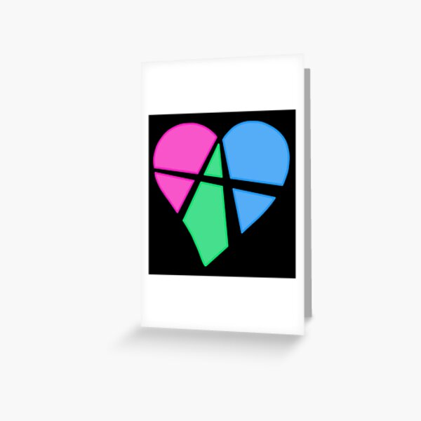 Polysexual Relationship Anarchy Heart (black) Greeting Card
