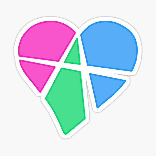 Polysexual Relationship Anarchy Heart (black) Sticker