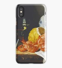Edward Ladell - Shrimps, A Peeled Lemon, A Glass Of Wine. Edward Ladell - still life with fruits and glass of wine. iPhone Case/Skin