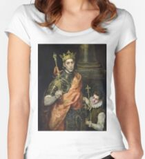 El Greco - St. Louis And His Page. El Greco - man portrait. Women's Fitted Scoop T-Shirt