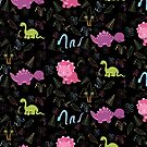Dinamic Girlz Dino Pattern by Amanda Voris