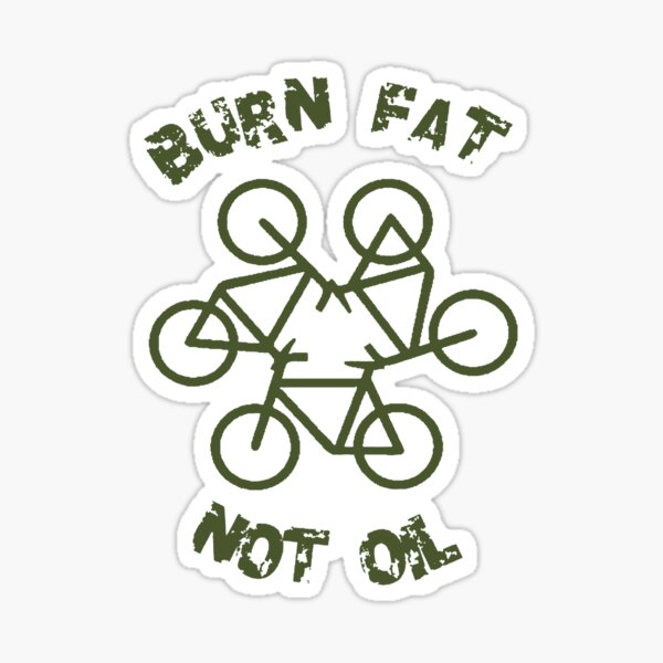 Burn Fat Not Oil Recycle Code Parody Green Graphic Sticker