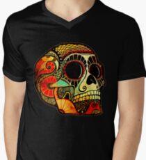 Grunge Skull Men's V-Neck T-Shirt