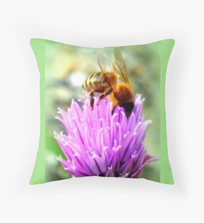 Bee on chive flower Throw Pillow