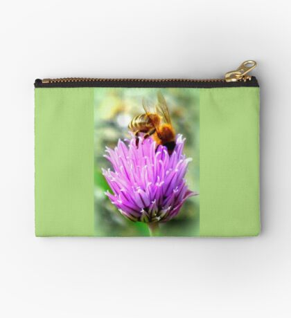 Bee on chive flower Studio Pouch