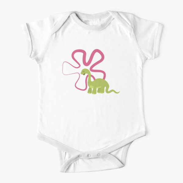 Dinamic Girls Collection - Green Dinosaur Girl with Flower Short Sleeve Baby One-Piece