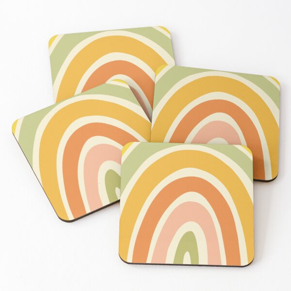 Retro Rainbow Coasters (Set of 4)