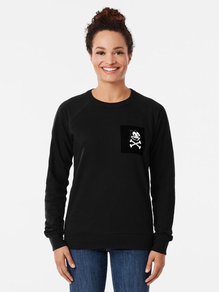 Alternate view of Felix the cat skull Lightweight Sweatshirt