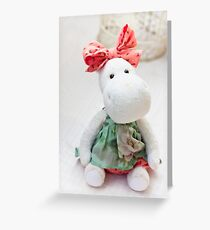 White hippo toy with textile and sewing accessory Greeting Card