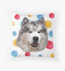 Cute Alaskan Malamute Throw Pillow