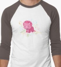 Dinamic Girls Collection - Pink Dinosaur Girl with Flowers T-Shirt