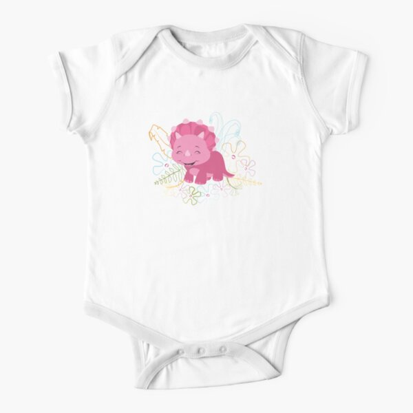 Dinamic Girls Collection - Pink Dinosaur Girl with Flowers Short Sleeve Baby One-Piece