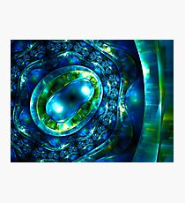 Abstract luxury ornate sparkle blue and green bright pattern. Brilliant ornament background.  Photographic Print