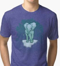 Emerald Elephant in the Lilac Evening Tri-blend T-Shirt