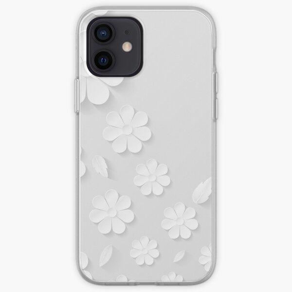 Flores blancas 3d, diseño floral mexicano de la textura. Funda para iPhone y Samsung Galaxy Funda blanda para iPhone