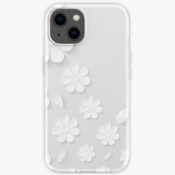 3D weiße Blumen, florales mexikanisches Texturdesign. Hülle für iPhone und Samsung Galaxy iPhone Flexible Hülle