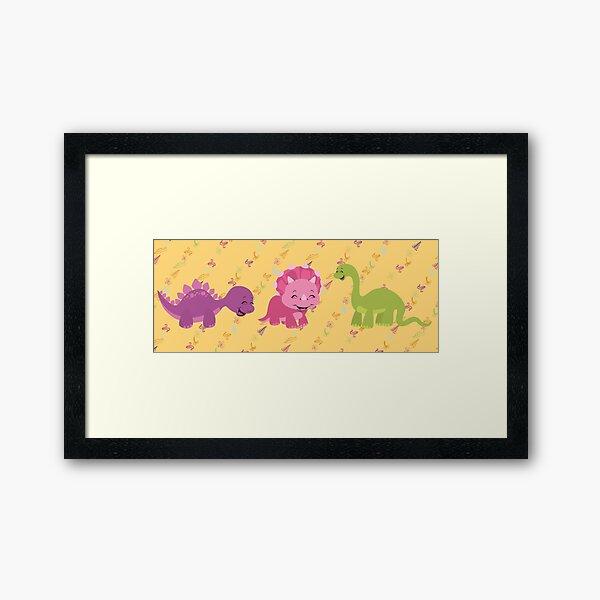 Dinamic Girls Collection - Girl Dinosaur Design Framed Art Print