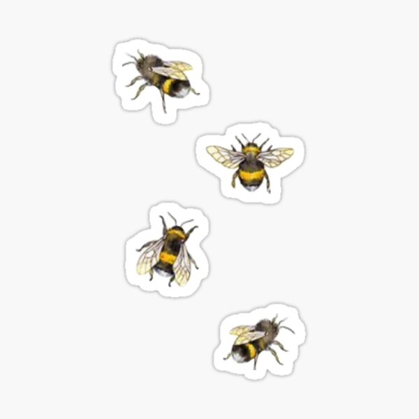 Black and Yellow Busy Bumble Bee Pattern Vintage Flying Insect Theme Symbol of Fortune, joy and harmony, friend or co-worker gift idea Sticker