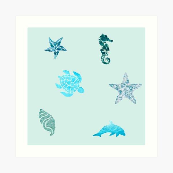 Ensemble d & # 39; animaux à motif océanique Impression artistique