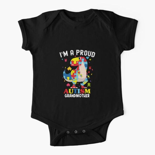 i'm proud autism grandmother Dinosaur T-rex Autism Awareness Short Sleeve Baby One-Piece