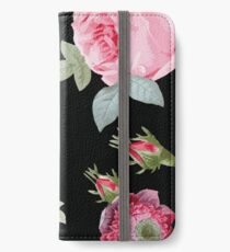 Rosa und Schwarz Botanischer Blumen iPhone Flip-Case/Hülle/Skin