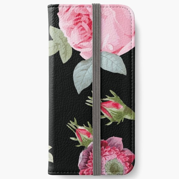 Pink and Black Botanical Floral iPhone Wallet