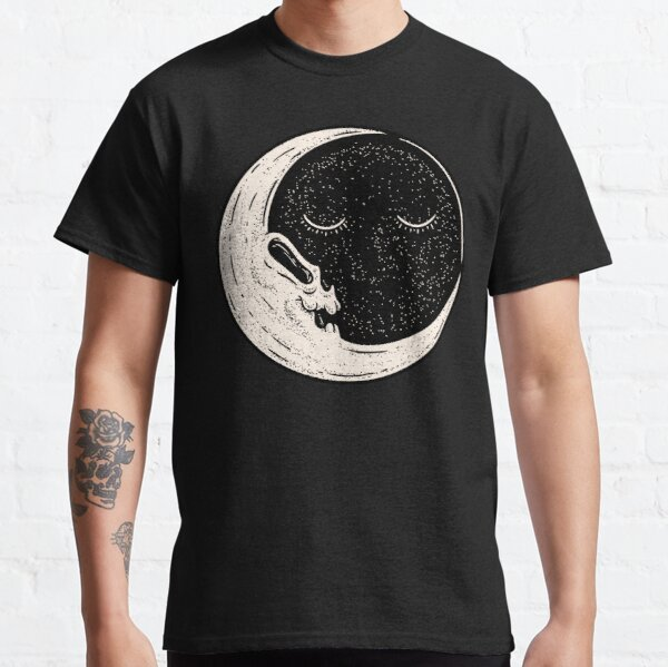 The End of Times - Sun and Moon | Dead Moon Skull in vintage old cartoon style | Vulture Culture | A trip to the moon Classic T-Shirt