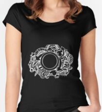 White Camera Doodle Graphic on Black Women's Fitted Scoop T-Shirt