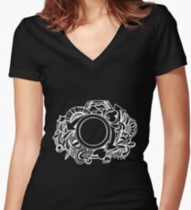White Camera Doodle Graphic on Black Women's Fitted V-Neck T-Shirt