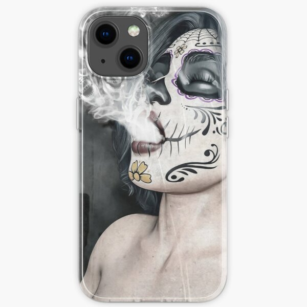 Graphic Art sugar skull  iPhone Soft Case