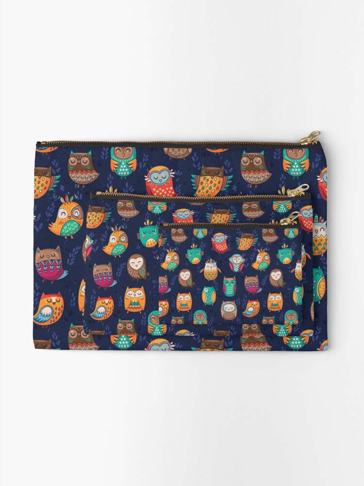 Alternate view of Tribal owls Zipper Pouch