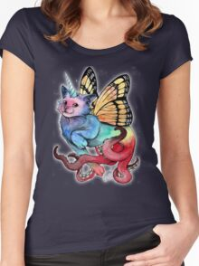 cat-unicorn-butterfly-octopus rainbow Women's Fitted Scoop T-Shirt