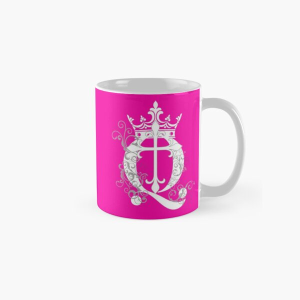 Pink Cup Cross Q Crown in White & Gray Classic Mug